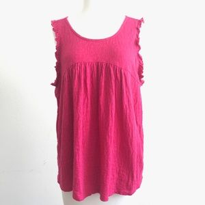 Lucky Brand Pink Babydoll Tie Back Tank Top